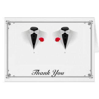 Cartes Deux smokings sur le Merci gai blanc de mariage