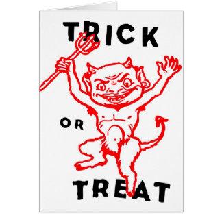 Cartes Diable de rétro kitsch vintage de Halloween petit