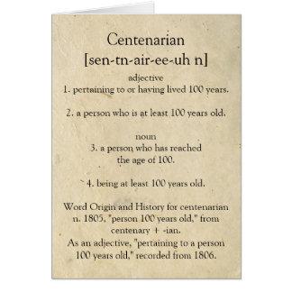 Cartes Dictionnaire centenaire signifiant le 100th
