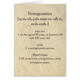 Cartes Dictionnaire nonagénaire signifiant le