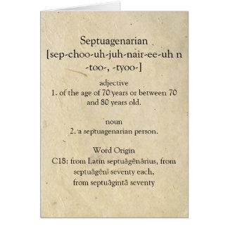 Cartes Dictionnaire septuagénaire signifiant le