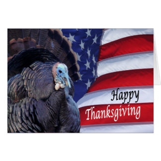 Cartes Dinde patriotique de bon thanksgiving ondulant