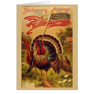 Cartes Dindes patriotiques de thanksgiving,