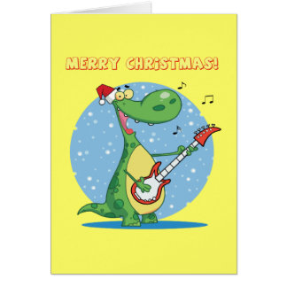 Cartes Dinosaure de Noël jouant la guitare