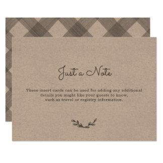 Cartes d'insertion de guingan de pays carton d'invitation 8,89 cm x 12,70 cm