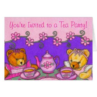 Cartes d'invitation de thé d'ours de nounours