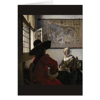 Cartes Dirigeant et fille riante par Johannes Vermeer