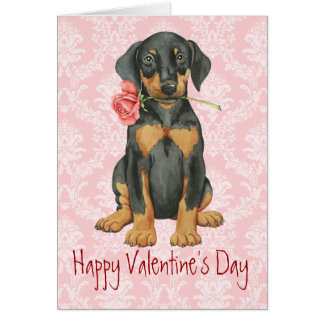 Cartes Dobermann rose de Valentine