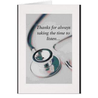 Cartes docteur, merci pour prendre toujours le temps au
