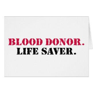 Cartes Donneur de sang. Épargnant de vie