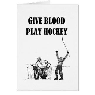 Cartes Donnez l'hockey de jeu de sang