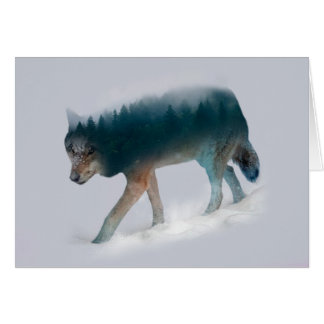 Cartes Double exposition de loup - forêt de loup - loup