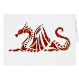 Cartes Dragon biseauté rouge métallique