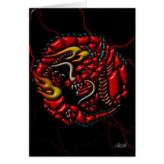 Cartes Dragon rouge sur le marbre noir
