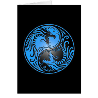 Cartes Dragons, bleu et noir de Yin Yang