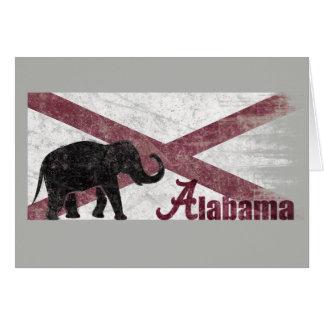Cartes Drapeau de l'Alabama, éléphant. Rétro cru, affligé