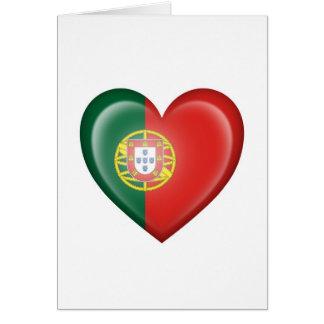 Cartes Drapeau portugais de coeur sur le blanc