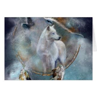 Cartes Dreamcatcher de loup - loup blanc - art de loup