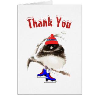 Cartes Drôle, Merci, oiseau de sport de patinage de glace