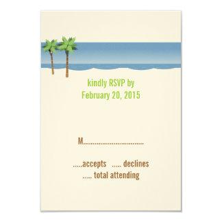Cartes du mariage de plage de palmiers RSVP Carton D'invitation 8,89 Cm X 12,70 Cm