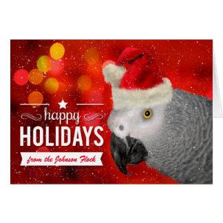 Cartes du perroquet de gris africain de Noël de troupeau