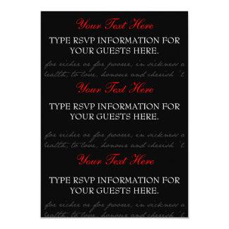 Cartes du rose rouge, noir, blanc RSVP Carton D'invitation 12,7 Cm X 17,78 Cm