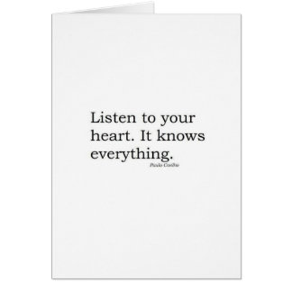 """Cartes """"Écoutez votre coeur. Il sait tout"""" Coelho"""