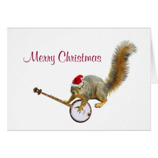 Cartes Écureuil de Noël avec le banjo
