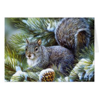 Cartes Écureuil (gris) gris de neige d'hiver…