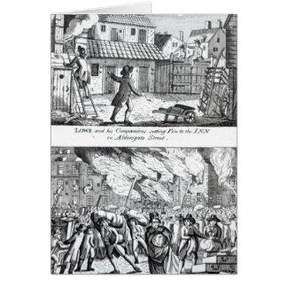 Cartes Edouard Lowe et ses compagnons mettant le feu