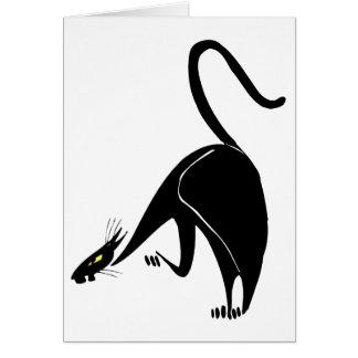 Cartes Égrappage gracieux de chat noir d'anniversaire