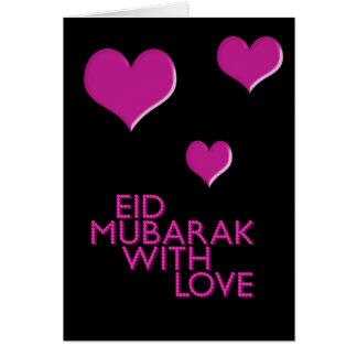 Cartes eid Mubarak avec le rose d'amour