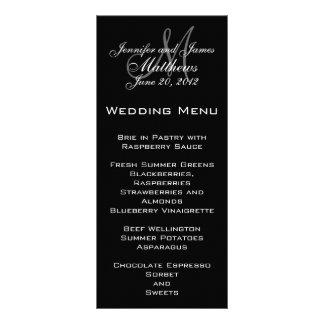 Cartes élégantes de menu de mariage de monogramme double cartes customisées