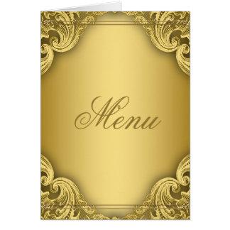 Cartes élégantes de menu d'or