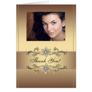 Cartes élégantes de Merci de photo d'or