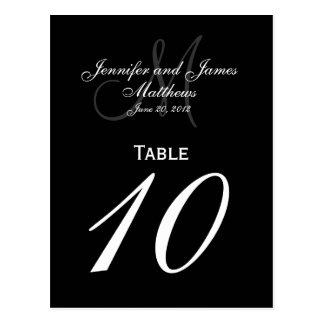 Cartes élégantes de Tableau de nombre de mariage d Carte Postale