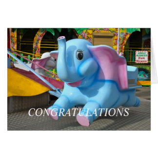 Cartes Éléphant aux félicitations d'une fête foraine