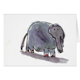 Cartes Éléphant botté avec la pointe du pied par rouge •
