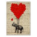 Cartes Éléphant et ballons en forme de coeur