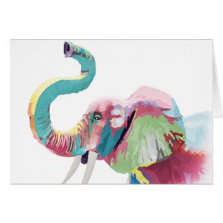 Cartes Éléphant vibrant coloré à la mode impressionnant