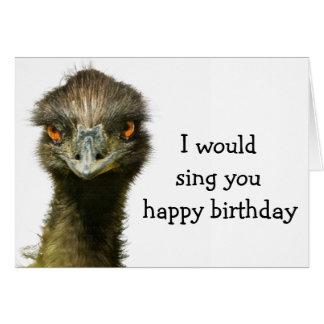 Cartes Émeu aucun anniversaire d'oiseau chanteur