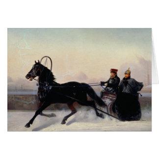 Cartes Empereur Nicholas I conduisant dans Sleigh