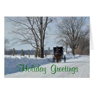Cartes En bas d'une ruelle neigeuse de pays sur Noël