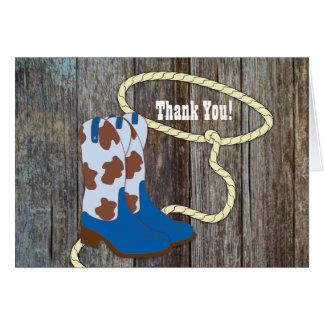 Cartes en bois de Merci de cowboy de grange bleue