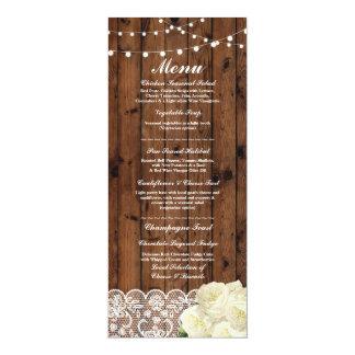 Cartes en bois rustiques de dentelle de réception carton d'invitation  10,16 cm x 23,49 cm