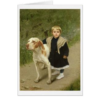Cartes Enfant en bas âge et un grand chien (huile sur la