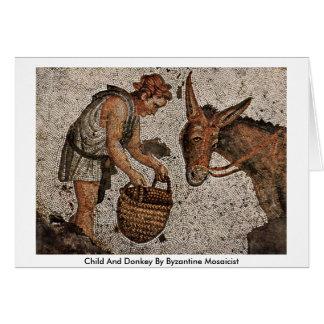 Cartes Enfant et âne par Mosaicist bizantin