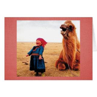 Cartes Enfant et chameau de Ventre-Rire