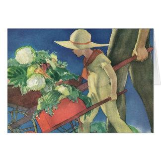 Cartes Enfant vintage, jardinage organique ; Jardin de