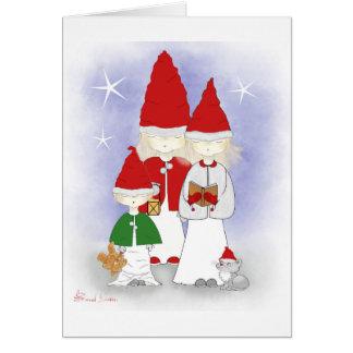 Cartes Enfants de mêmes parents de Noël chantant des